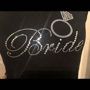 "David's Bridal ""Bride"" Black Jeweled Tank"
